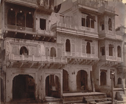 Row of houses with ornately-carved façades, Lashkar.